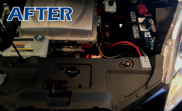 Under Hood After Install (2013 Leaf Shown)